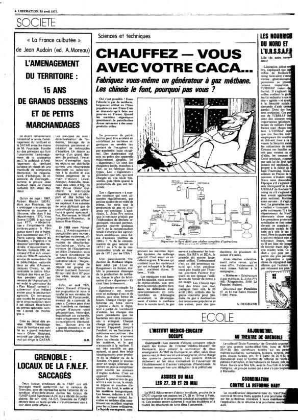 Le journal Libération conscient des problèmes énergétiques et proposant des solutions d'avant-garde dès la fin des 70s